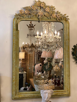 Aged Metal Flower Mirror