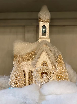 LED Lighted Paper Church with Bottle Brush Trees