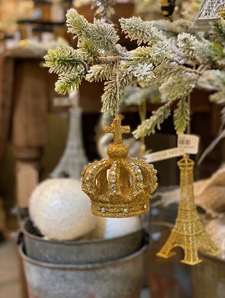 Gold Jeweled Crown Ornament