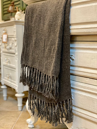 Charcoal Linen Throw