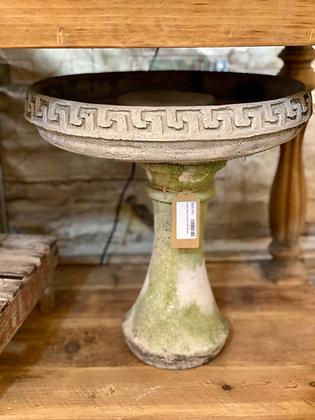 Greek Key Cement Birdbath