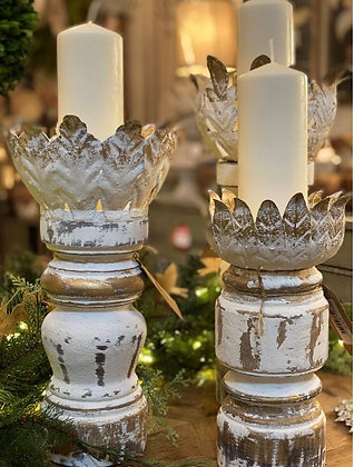Whitewashed Wood Candleholders