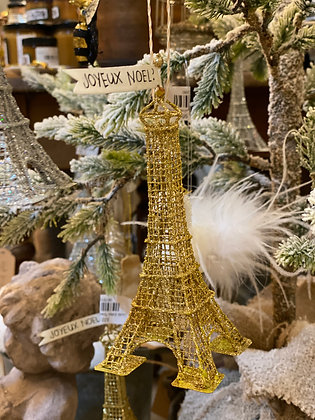 Gold Eiffel Tower Ornament