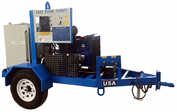 Fast Flow's 74HP Trailer-Mounted HPU System. This Hydraulic System is mounted on an 11' trailer.