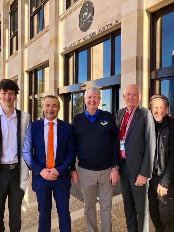 Left to right – Alex Arnold the app developer from the McCusker Citizenship Internship Program -  Roger Cook WA Health Minister – Grant Westthorp concept and content designer – Peter Watson Speaker MLA – Jon Doust Chairman Men's Resource Centre