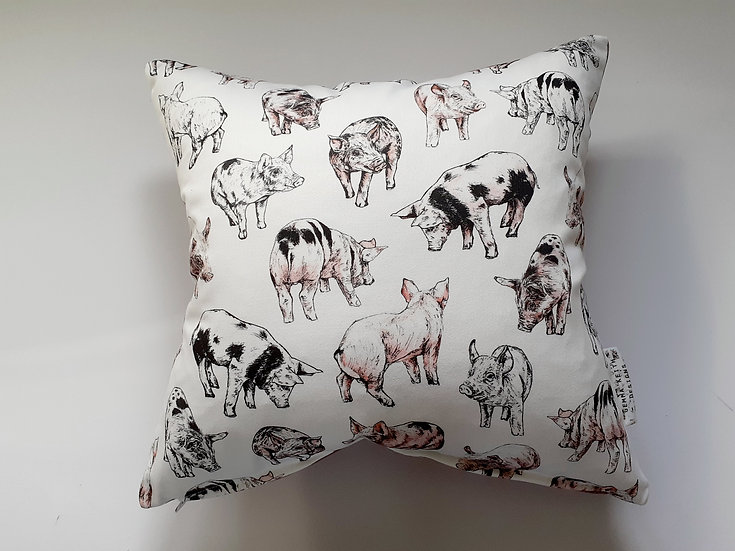 Ready Made Pigs Cushion with Pink Suedey Velvet Backing Fabric