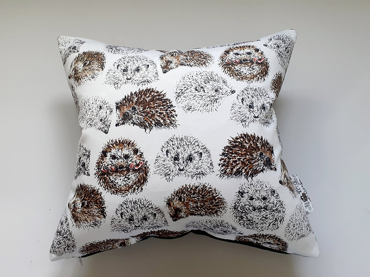 Ready Made Hedgehog Cushion with Duck Egg Velvet Backing Fabric