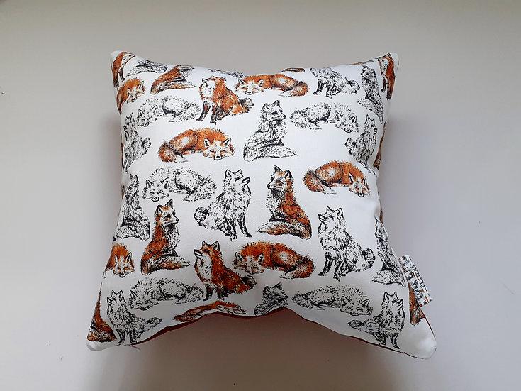 Ready Made Fox Cushion with Terracotta Orange Backing Fabric