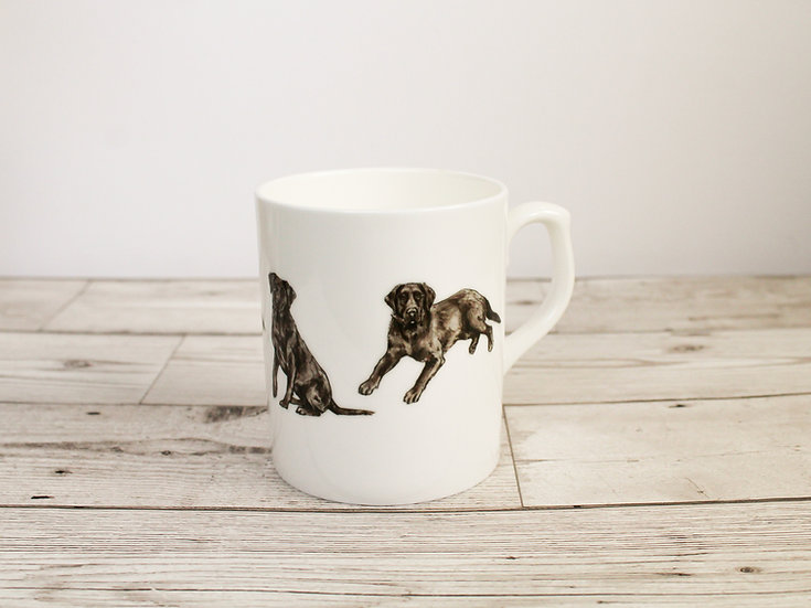 Black Labrador Dog Bone China Mug & Card Gift Set