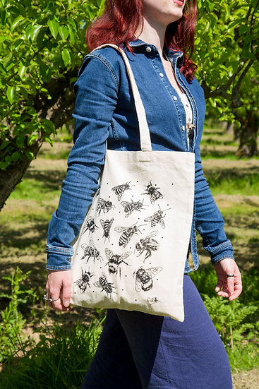 Bee Design Screen Printed Cotton Tote Bag