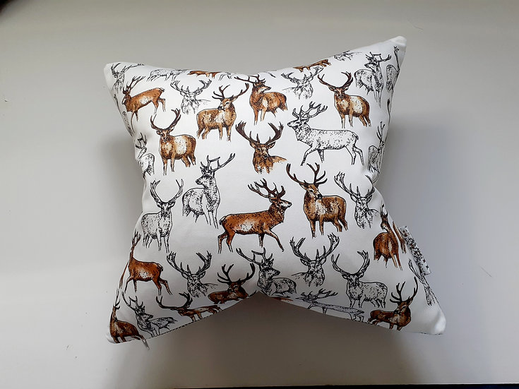 Ready Made Stag Cushion with Teal Shine Backing Fabric