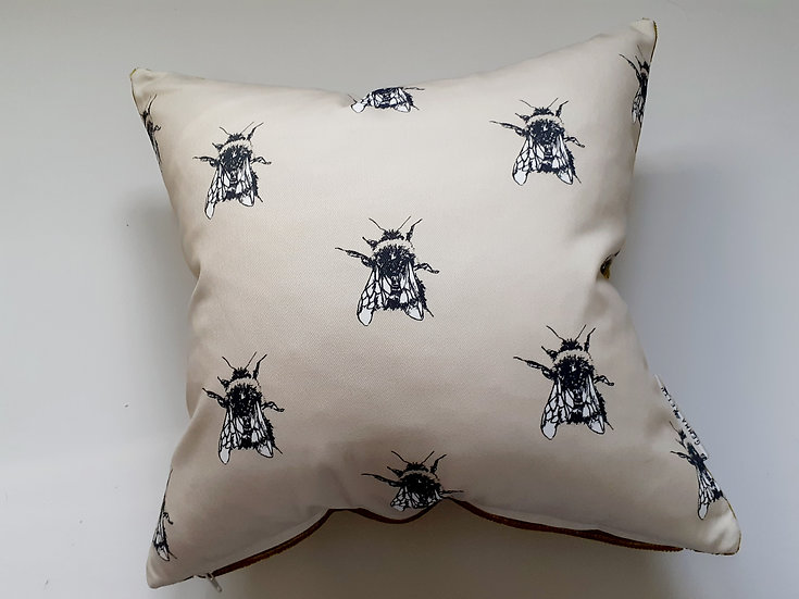 Ready Made Bees Cushion with Gold Velvet Backing Fabric