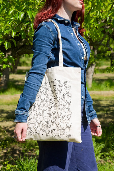 Stag Design Screen Printed Cotton Tote Bag