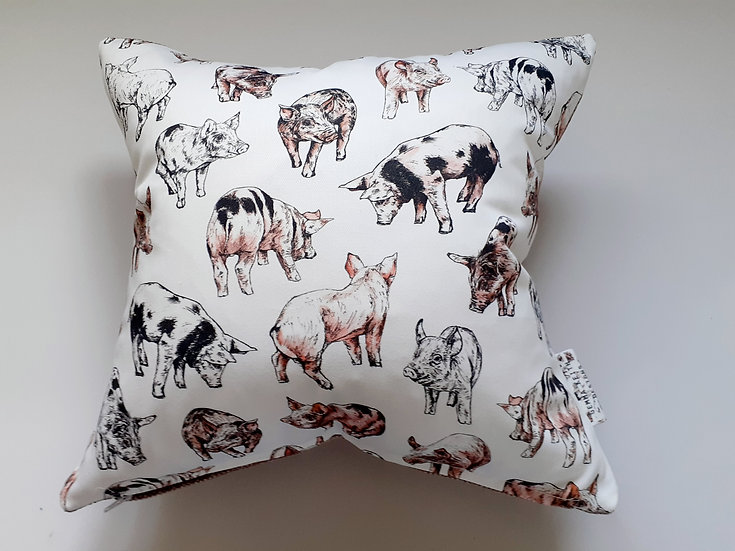 Ready Made Pigs Cushion with Mushroom Chenille Backing Fabric