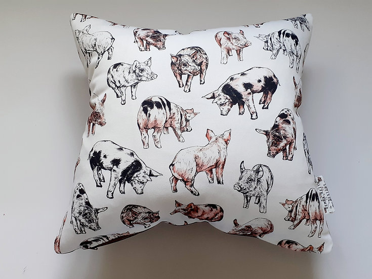 Ready Made Pigs Cushion with Mocha Velvet Backing Fabric