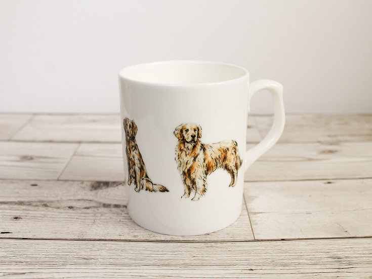 Golden Retriever Dog Bone China Mug & Card Gift Set