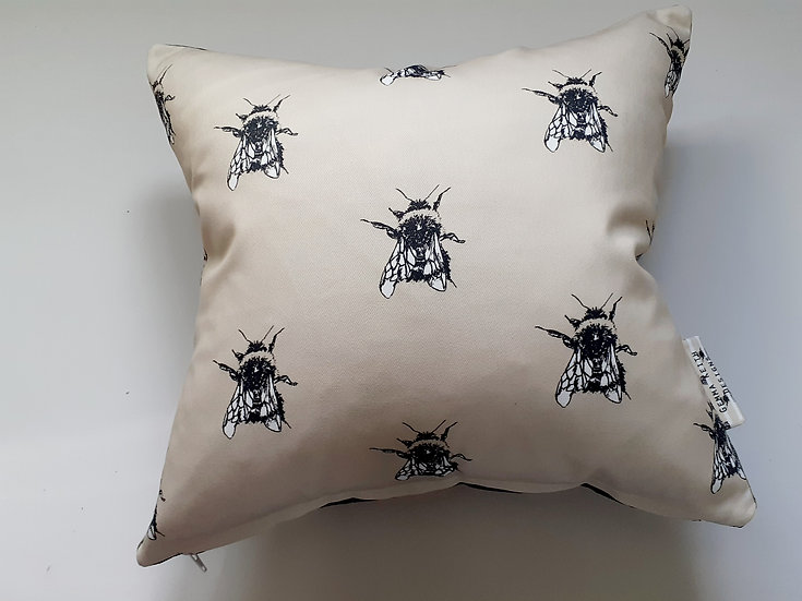 Ready Made Bees Cushion with Charcoal Velvet Backing Fabric