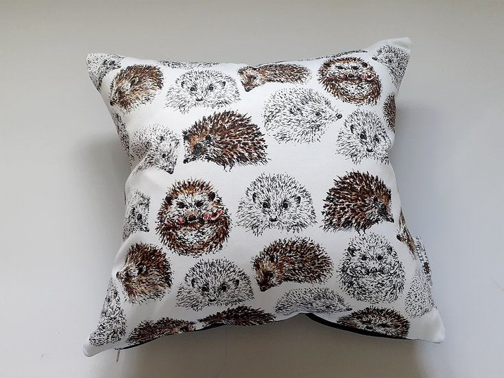 Ready Made Hedgehog Cushion with Teal Shine Backing Fabric