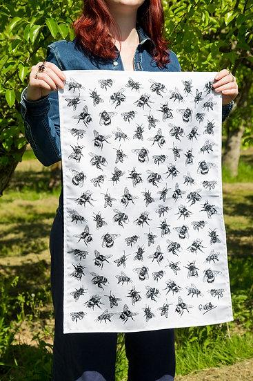 Black Bees 100% Cotton Tea Towel