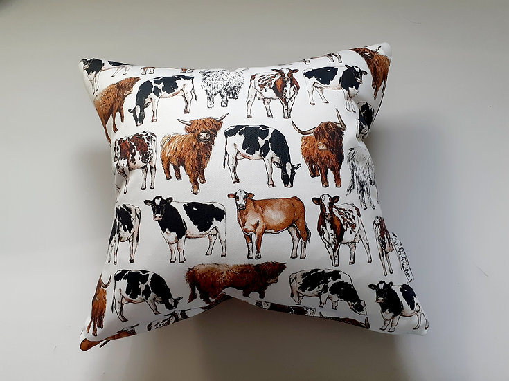 Ready Made Cows Cushion with Bronze Shine Backing Fabric