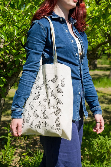 Hare Design Screen Printed Cotton Tote Bag