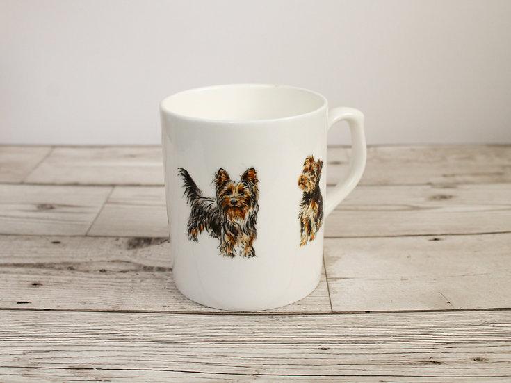Yorkshire Terrier Dog Bone China Mug & Card Gift Set