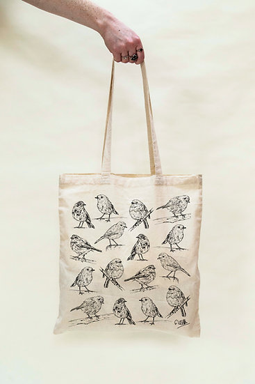 Robins Design Screen Printed Cotton Tote Bag