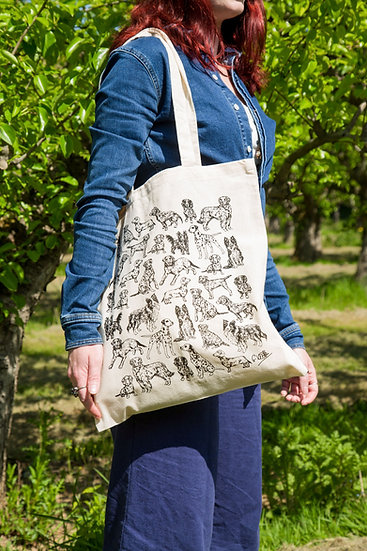 Dogs Design Screen Printed Cotton Tote Bag