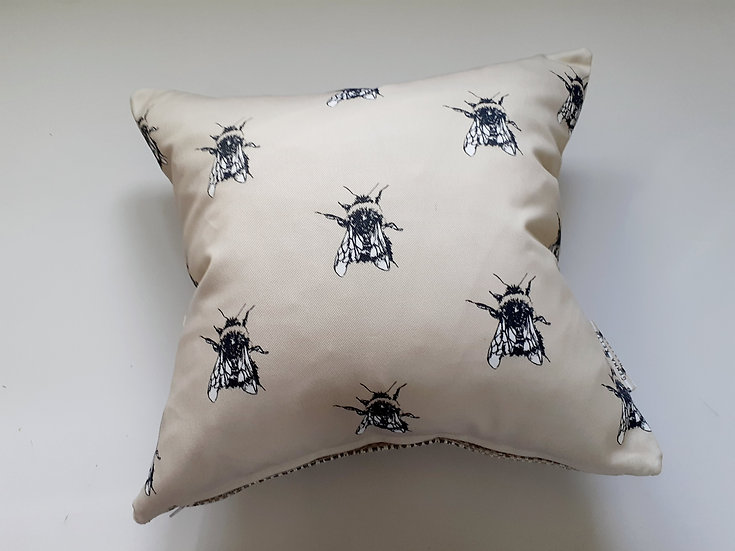 Ready Made Bees Cushion with Natural Woven Backing Fabric