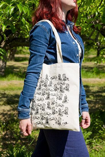 Fox Design Screen Printed Cotton Tote Bag