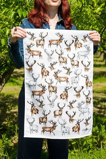 Stags 100% Cotton Tea Towel