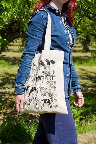 Cows Design Screen Printed Cotton Tote Bag
