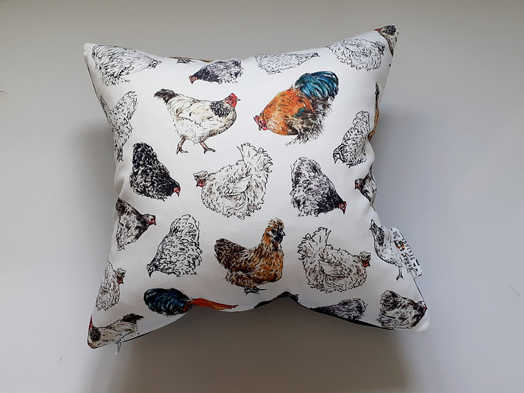 Ready Made Chickens Cushion with Teal Shine Backing Fabric