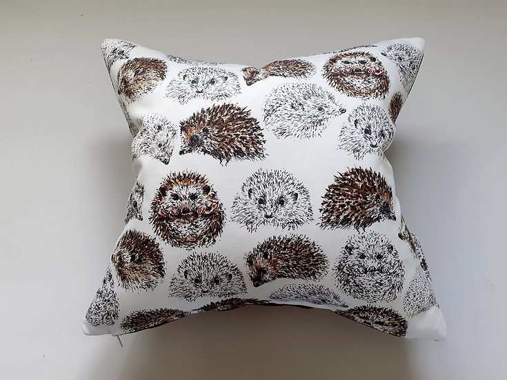 Ready Made Hedgehogs Cushion with Chestnut Woven Backing Fabric