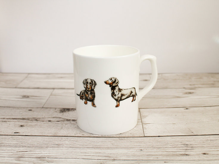 Dachshund Dog Bone China Mug & Card Gift Set