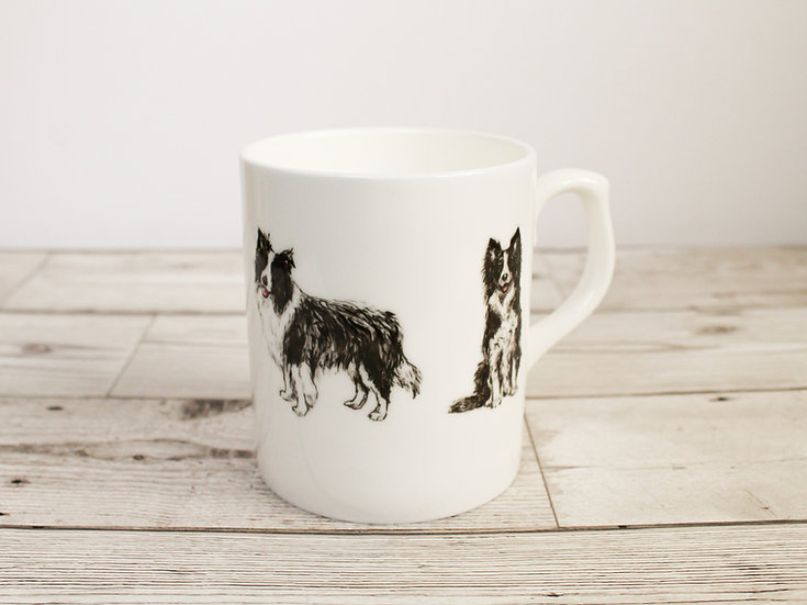 Border Collie Dog Bone China Mug & Card Gift Set