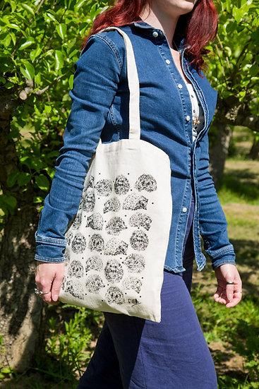 Hedgehog Design Screen Printed Cotton Tote Bag