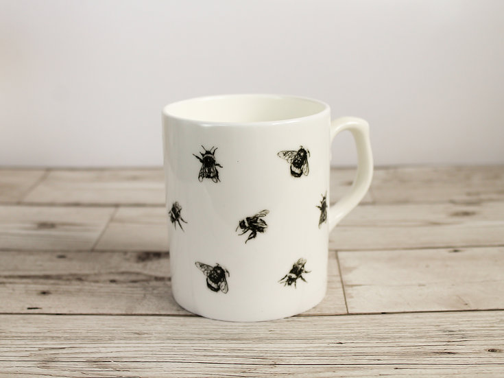 Black Bees Bone China Mug