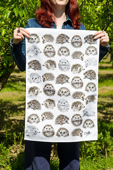 Hedgehogs 100% Cotton Tea Towel