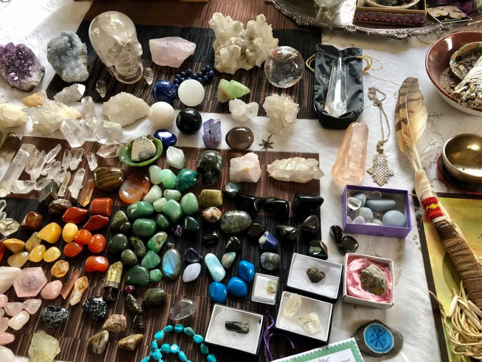 healing crystal collection for cleansing on table in New Zealand