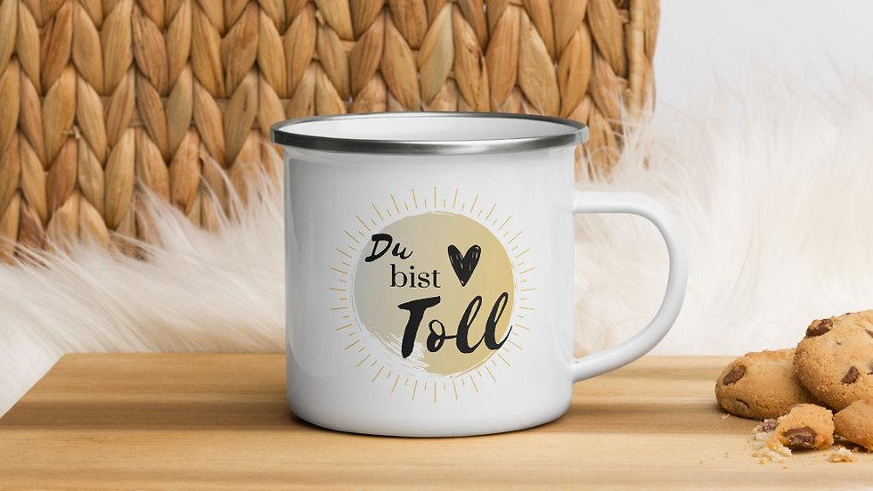 "Emaille-Tasse ""Du bist toll!"" gold"