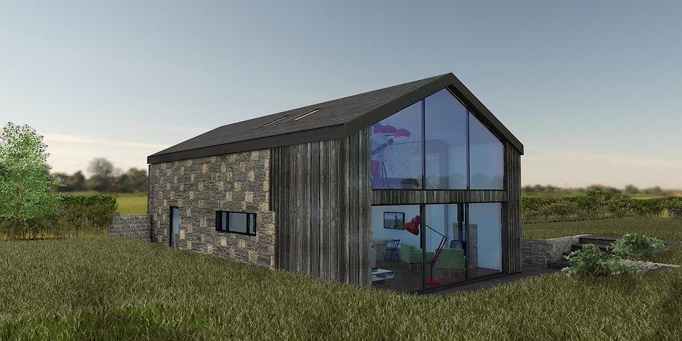 Architectural visualisation, 3D render, selfbuild, barn conversion, glass