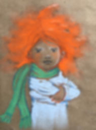 Flame - Pastel on paper sack girl
