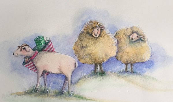Watercolor Naked sheep