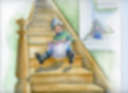 Watercolor sledding on stairs