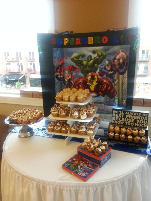 Superhero themed cupcake display