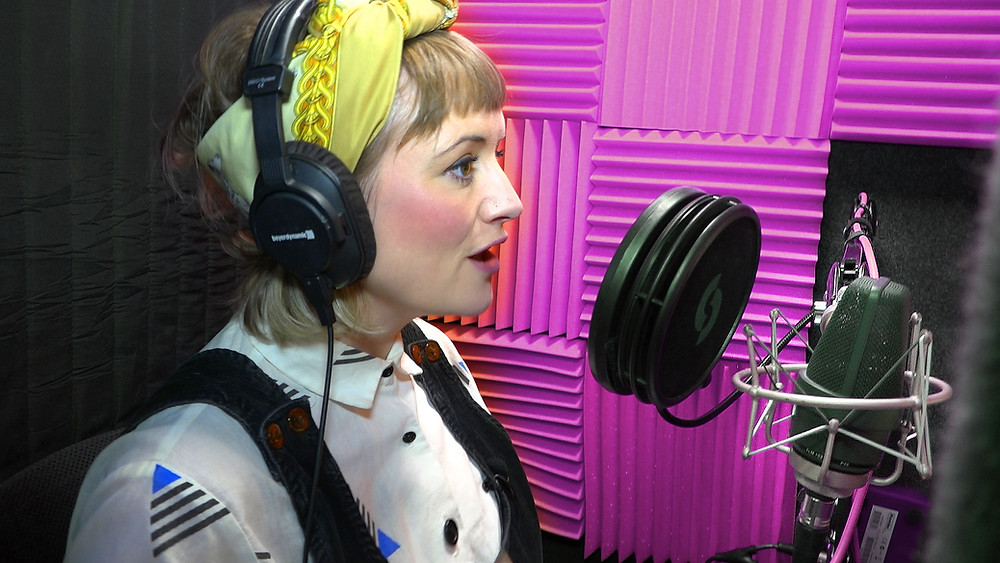 Katy Brody Voiceover in her booth