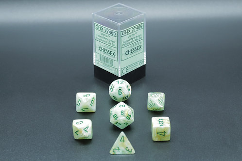 Chessex CHX 27409 Marble Green/dark green 7pc Dice Set