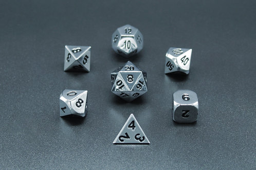 7-Piece Metal Dice Set - Polished Silver/Black