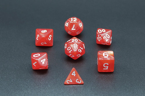 7-Piece Dice Set - Marble Red/White
